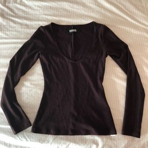 Reformation Tops - Reformation Marielle Long-Sleeve Ribbed Top